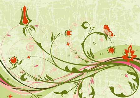 Grunge floral background with butterfly and wave pattern, element for design, vector illustration Vector