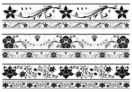 bordure floral: Collecter les fronti�res floral, �l�ment de conception, illustration vectorielle