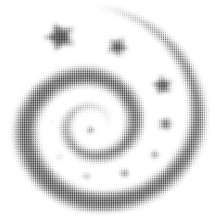 roundness: Halftone background for design with spiral and star, roundness shape