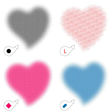 roundness: Halftone background for design with heart shape, other filling - round, square, line, letter Illustration