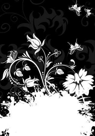 Grunge Floral Frame with Butterflies for design Stock Vector - 6694203