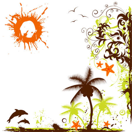 Abstract summer grunge frame with starfish, element for design Stock Vector - 6694238