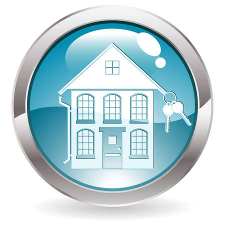 Three Dimensional circle button with home icon Stock Vector - 6694188