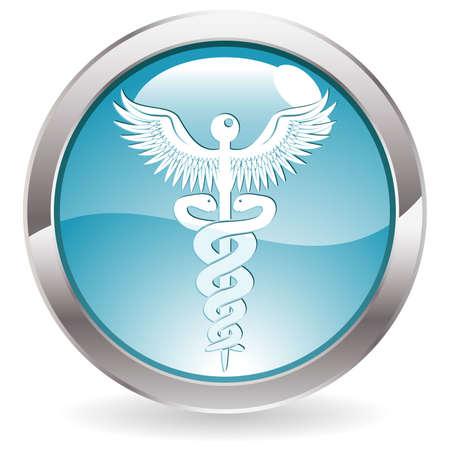 logo medicina: Botón de tres círculo dimensional con icono de médico