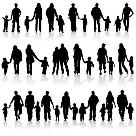 Big collect silhouettes of parents with children, element for design