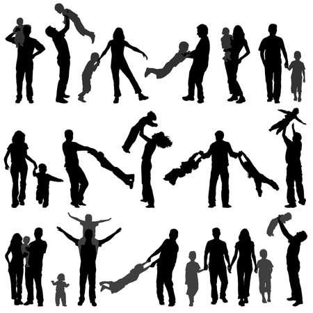 mums: Recopilar grande Happy Family de silueta con ni�o en pie, ilustraci�n para el dise�o de
