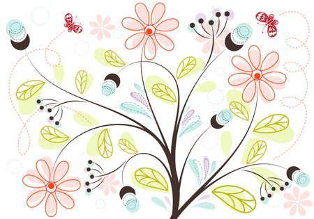 Retro Floral Background with butterfly, element for design