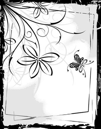 Grunge floral frame with butterfly, element for design Vector