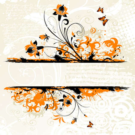 Grunge floral frame with butterfly, element for design Stock Vector - 6785669