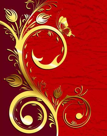 Grunge gold flower background with wave pattern, element for design Vector