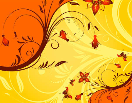 Flower background with butterfly, element for design Stock Vector - 6785393