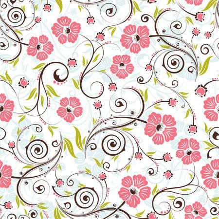 iteration: Fiore pattern senza saldatura con gemma, elemento per il design