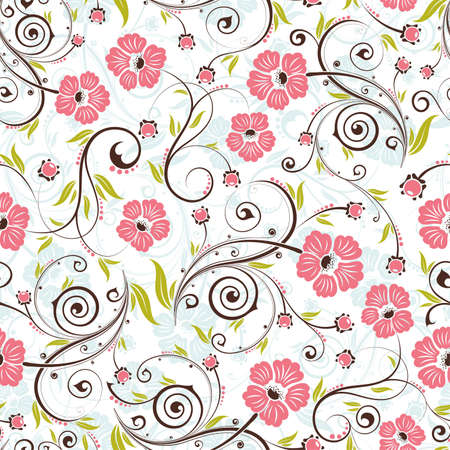 Flower seamless pattern with bud, element for design