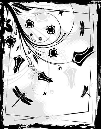 Grunge floral frame with dragonfly, element for design Vector