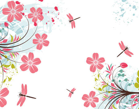dragonfly art: Grunge paint flower background with dragonfly, element for design