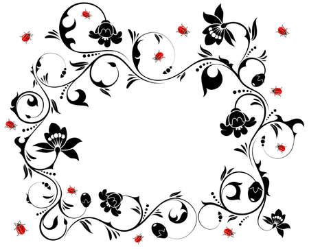 ladybug on leaf: Floral frame with ladybug, element for design Illustration