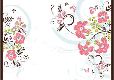 leaf curl: Floral frame with butterfly, element for design Illustration