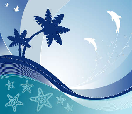 Summer background with wave pattern, dolphin, palm tree, element for design Vector