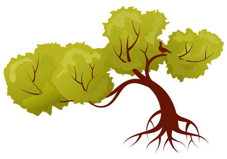 Stylized Tree with leafs and bird, for design Vector