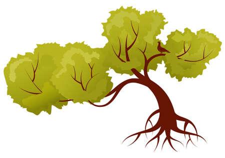 Gestileerde boom met bladeren en vogel, voor ontwerp