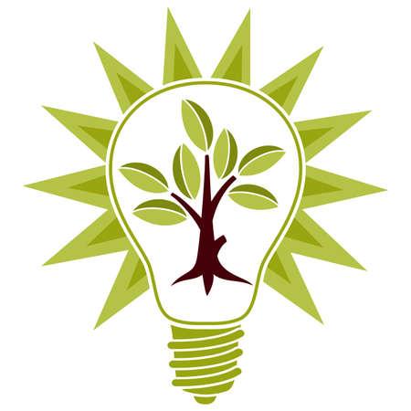 albero stilizzato: Albero stilizzato con foglie e lampadina isolato su sfondo bianco per il design Vettoriali