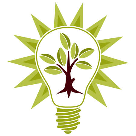 Stylized Tree with leaves and light bulb isolated on white background for design Stock Vector - 6785384