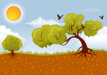 Background with Tree, sun and grass, element for design Vector