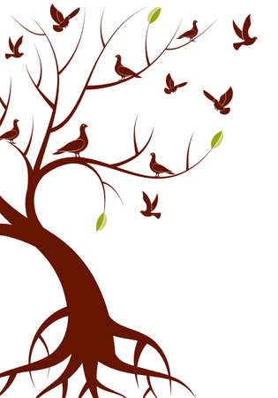 bonsai: Stylized Tree with leafs and bird, for design