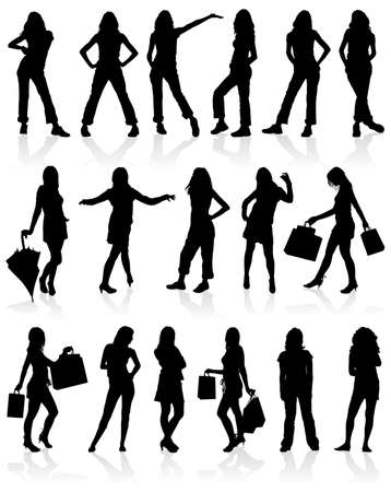 Set  silhouettes girls with bag, illustration Vector