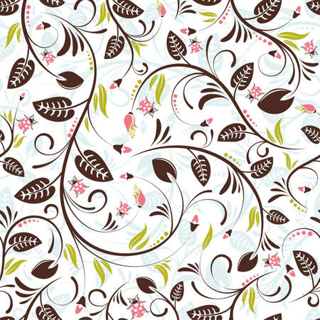 Flower seamless pattern with ladybug, element for design Stock Vector - 6809531