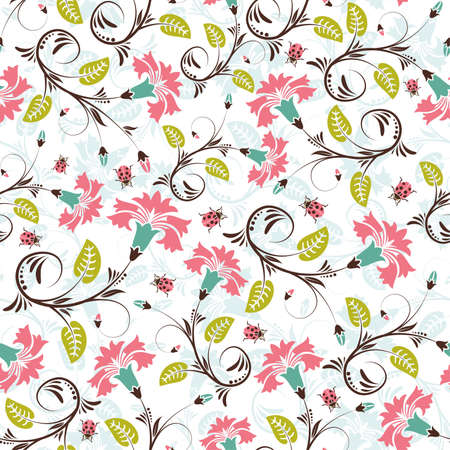 Flower seamless pattern with ladybug, element for design Stock Vector - 6809537