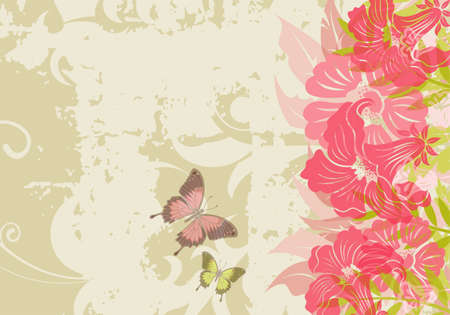 Grunge floral background with butterfly (no transparency), element for design Vector