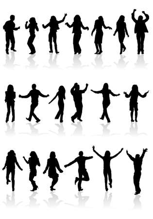 collect: Big collect silhouettes dancing man and women Illustration