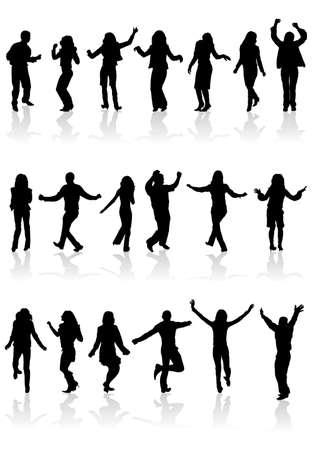 cobrar: Siluetas de recopilar grandes baile de hombre y mujer