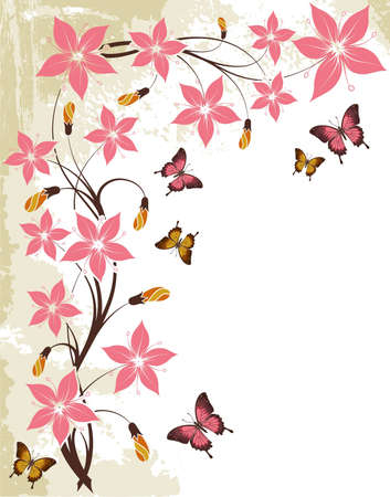 pink and brown: Grunge floral background with butterfly, element for design,  illustration