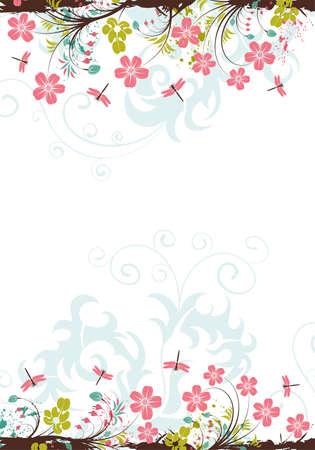 foliage background: Grunge floral background with dragonfly, element for design,  illustration