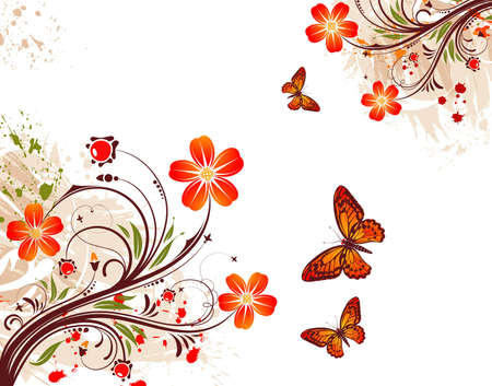 Grunge flower background with butterfly, element for design,  illustration Stock Vector - 6894609