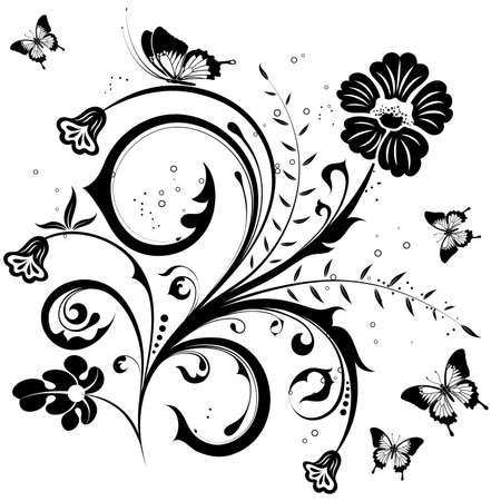 Flower with butterfly, element for design, illustration