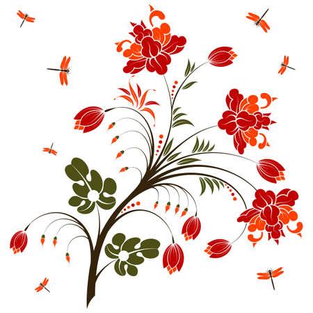 Ornamento floreale con libellula, elemento di design, illustrazione