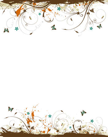 Grunge paint flower frame, element for design, illustration Illustration