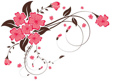 esquineros florales: Marco floral con yema, elemento de dise�o, ilustraci�n