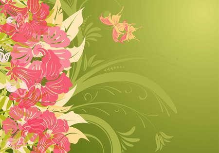Floral background with butterfly (no transparency), element for design, illustration Vector