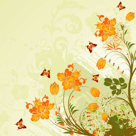 Grunge flower background with butterfly, element for design,  illustration Stock Vector - 6894612