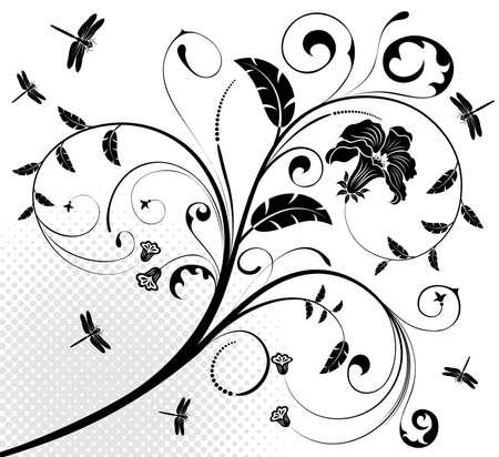 Floral ornament with dragonfly, element for design, illustration Illustration