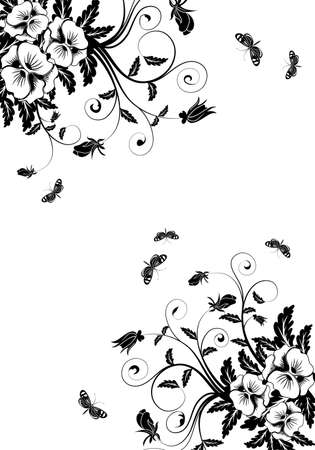 Flower background with butterfly, element for design, vector illustration Vector