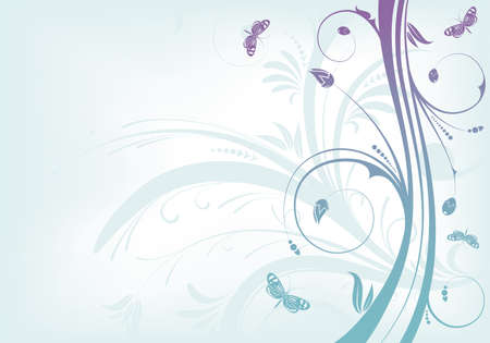 butterfly background: Flower background with butterfly and wave pattern, element for design, vector illustration