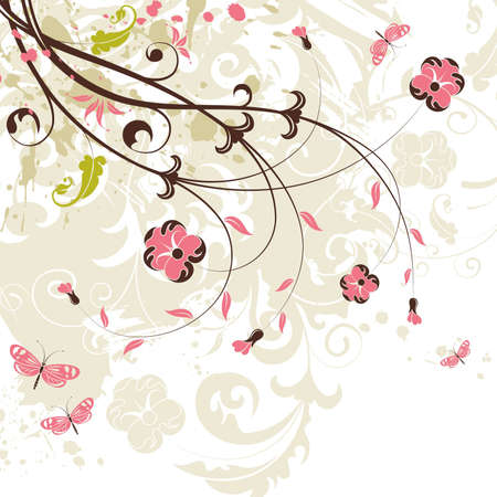 Grunge flower background with butterfly, element for design, illustration Stock Vector - 6894561