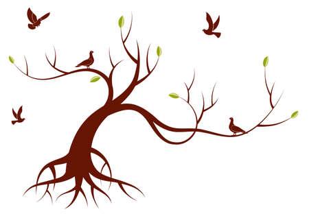 albero stilizzato: Albero stilizzato con foglie e uccello, per il design, illustrazione