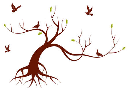 birds tree: Stylized Tree with leafs and bird, for design,  illustration
