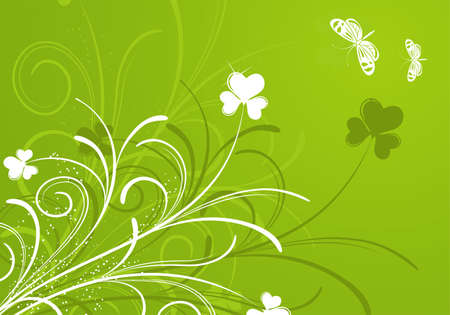Floral background with butterfly for design,  illustration Vector